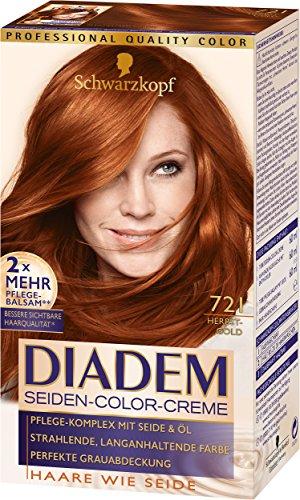 Schwarzkopf Diadem Seiden-Color-Creme, 721 Herbstgold Stufe 3, 3er Pack (3 x 180 ml)