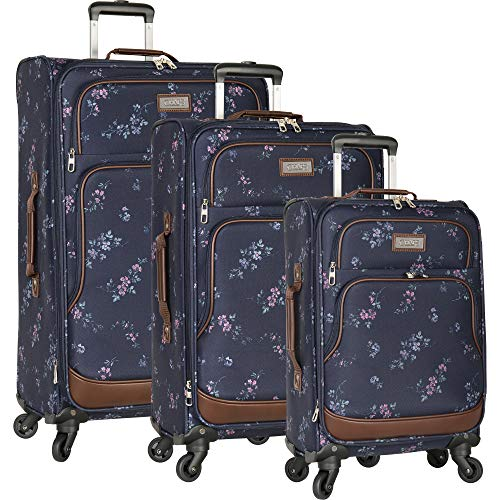 Chaps 3 Piece Spinner Luggage Set, Navy Bouquet