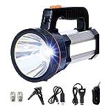 MOZC Lampe Torche Rechargeable, Lumineuse Éclairage 8-24H 800M Tactique à DEL avec Poignée CREE L2 Spotlight Torche Électrique 7000 Lumens (H Modèle, Argent)