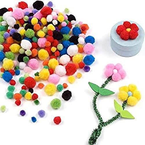 Baker Ross Mini Bunt Pom Poms Sparpackung - Ideal für Kunst und Kunsthandwerk für Kinder, Weihnachten, Geschenke, Andenken und mehr (Packung mit 500 Stück)