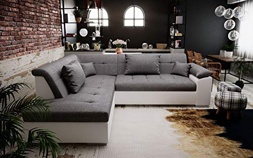 tendencio Canapé d'angle Convertible LITO Design avec lit - Tissu et Simili Cuir (Gris et Blanc)