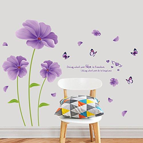 JYSPORT Adesivi murali Cameretta Fiore rimovibile per autoadesivi fai-da-te per ragazze / giovani coppie camera da letto / soggiorno decorazione multi-stile (Fiori viola)