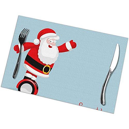 Suo Long Moderno Santa Rides On Electro Board Manteles Individuales de Navidad...