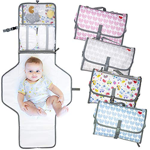 Cambiador portátil plegable de viaje, nuevo modelo 2020, bolso cambiador para pañal colchón y cojín, apto para bebés y niños con portabiberones térmico incluido (Kids)