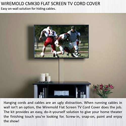 Wiremold CMK30 30-Inch Flat Screen TV Cord Cover Kit, White