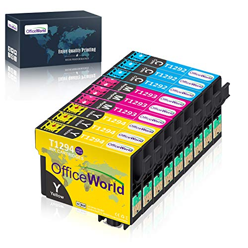 OfficeWorld Ersatz für Epson T1292 T1293 T1294 Druckerpatronen Cyan Magenta Gelb Kompatibel für Epson Stylus SX435W SX235W SX420W SX230 SX425W SX440W SX445W, Epson Stylus Office BX535wd