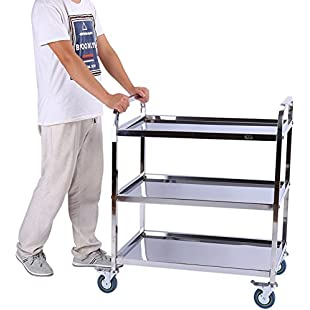 3 Tier Stainless Steel Detachable Catering Trolley Serving Trolley Clearing Trolley Kitchen Cart, Ideal for Hotels, Restaurants and Care Homes, 85cm x 45cm x 90cm