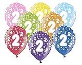 Libetui 10 kunterbunte Luftballons 2 Jahre Geburtstag Metallic 30cm Deko zum 2. Geburtstag Party Kindergeburtstag Happy Birthday Dekoration (Zahl 2)