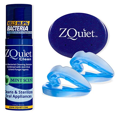 ZQUIET Anti-Snoring Mouthpiece Solution, 2-Size Comfort System Starter Kit + Anti-Bacterial Cleaning Solution (1.5oz Bottle) - Made in USA & FDA Cleared, Sleep Aid Device with Foaming Cleaner
