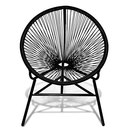 vidaXL Stuhl Lounge Sessel Gartenstuhl Esszimmerstuhl Korbsessel Gartensessel Gartenmöbel Lounge Balkonstuhl Rattanstuhl Poly Rattan Schwarz