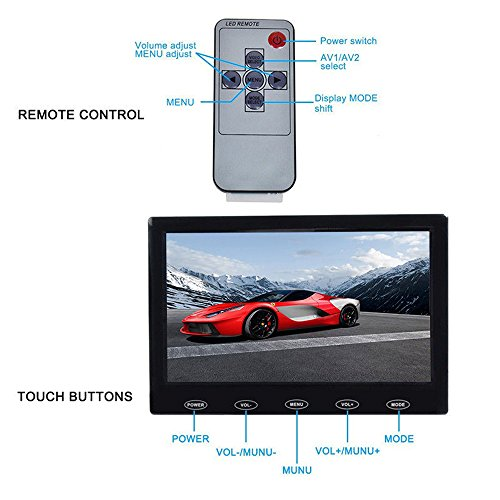 SallyBest 7 Inch Ultra Thin 16:9 HD 800480 TFT LCD Color Display Headrest Monitor Touch Button Monitor Screen Support AV HDMI VGA Video Input