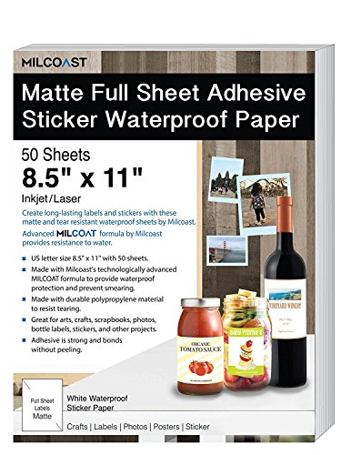 Milcoast Matte Full Sheet 8.5 x 11 Adhesive Tear Resistant Waterproof Photo Craft Paper - for Inkjet/Laser Printers - for Stickers, Labels, Scrapbooks, Bottles, Arts, Crafts (50 Sheets)