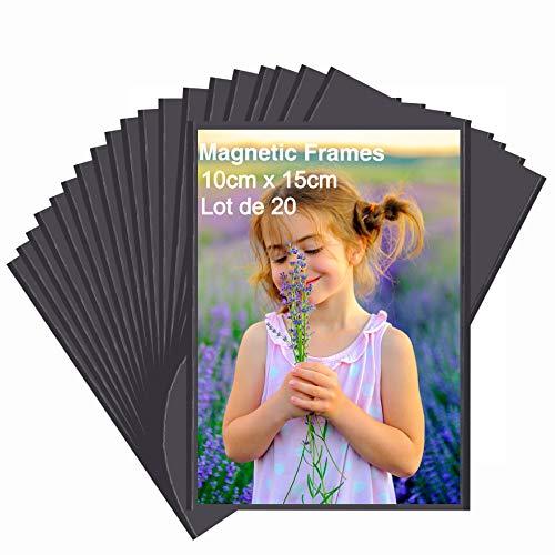 HIIMIEI Magnetische Fototaschen 10 x 15 cm, 20 Stück Magnet Bilderrahmen Fotorahmen für Fotos Postkarten von für Kühlschrank, Schwarz