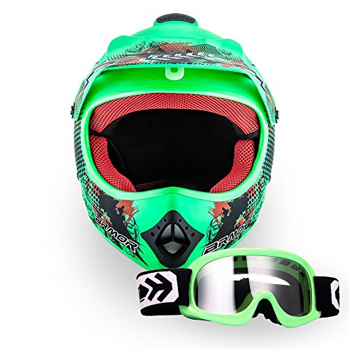 "ARMOR · AKC-49 Set ""Limited GREEN"" (GRÜN) · Kinder-Cross Helm · Moto-Cross Off-Road Motorrad Sport Enduro Kinder · DOT certified · Click-n-Secure Clip · Tragetasche · XS–XL (51-60cm)"