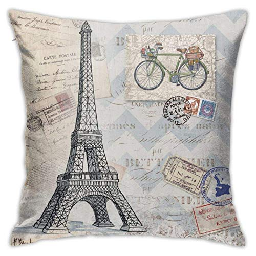 N\A Throw Pillow Covers, Paris Bon Voyage, Sofá Sofá Fundas de Almohada Decorativas Cojín Decoraciones para el hogar Fundas de Almohada