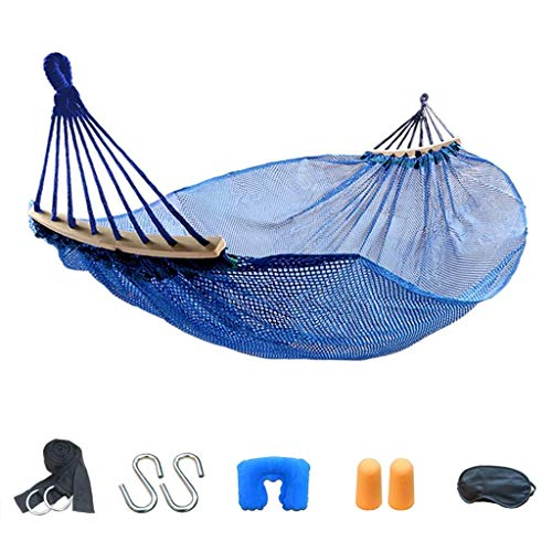 Hamacs, Meubles de Camping Ice Silk Double Outdoor Adapté à Plusieurs scènes Confortable et Respirant Charge légère et élégante 250kg (Couleur: Bleu, Taille: 190 * 150cm) Confortable