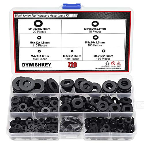 DYWISHKEY 720 Pieces 7 Sizes Black Nylon Flat Washers Assortment Kit (M3 M4 M5 M6 M8 M10 M12)