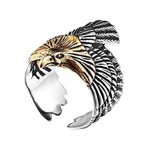 GuDeKe de los Hombres Acero Inoxidable Vintage Oro y Plata Águila Anillo (16,5)