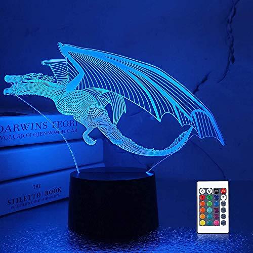 3D ilusión noche luz LED lámpara de escritorio control táctil dragón luces para niños táctil USB lámpara lámpara de mesa bebé dormir luz movimiento