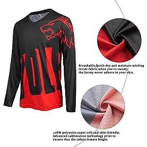 Wisdom Wolf Camiseta de ciclismo de manga larga para hombre de MTB de montaña transpirable y suave que absorbe la humedad, Hombre, rojo, XL