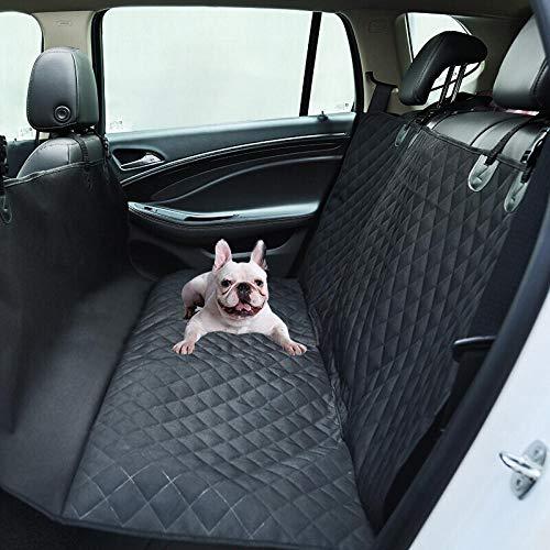 TTXP Transportar Perros En Coche Negro Cama Perro Plastico para Perro, Protector de Asiento Trasero para Mascotas 3 En 1 con Malla Visual