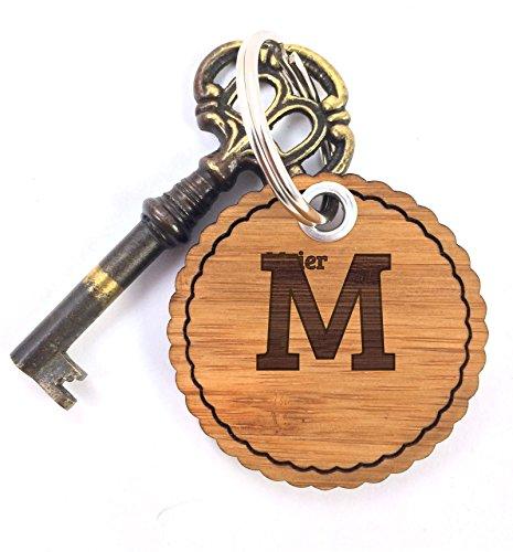 Mr. & Mrs. Panda Schlüsselanhänger Nachname Meier Rundwelle - 100% handgefertigt aus Bambus Holz - Anhänger, Geschenk, Nachname, Name, Initialien, Graviert, Gravur, Schlüsselbund, handmade, exklusiv