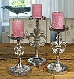 MichaelNoll 3er Set Kerzenständer Lilie Kerzenhalter Aluminium Silber Deko - Kerzenleuchter Modern für Stumpenkerzen - Tischdeko Hochzeit - Dekoration Wohnzimmer - H 23 cm / 28 cm / 32 cm