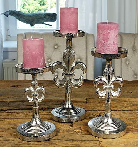 MichaelNoll 3er Set Kerzenständer Lilie Kerzenhalter Aluminium Silber - Kerzenleuchter Modern für Stumpenkerzen - H 23 cm / 28 cm / 32 cm