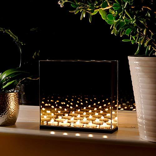 Maison & White Infinity Teelicht Kerzen Box | Spiegel für optische Täuschung dekorieren Dark Glass Magic-Effekt | Perfektes Geschenk