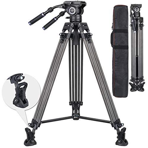 Carbon Fiber Video Tripod, 74 inch Heavy Duty Camera Tripod Ultra Stable & Lightweight Professional Camera Tripod with Fluid Drag Head and 2 Pan Bar Handles, Max Load 22lb