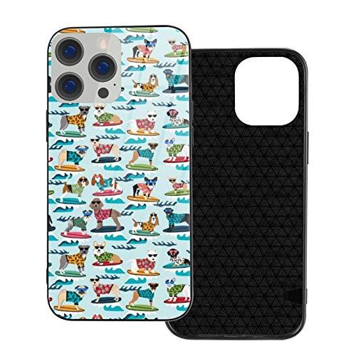 Compatible con iPhone 12 Pro Max, carcasa resistente de cuerpo completo, funda suave de cristal TPU para iPhone 12 Pro Max 6.7 pulgadas, perros de surf, playa, perros pequeños