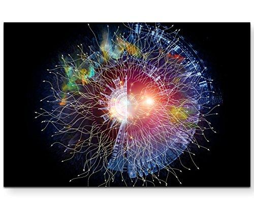 Paul Sinus Art Leinwandbilder   Bilder Leinwand 120x80cm Geometrie des virtuellen Weltall