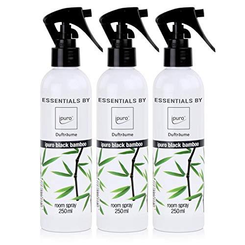 Essentials by ipuro Dufträume Raumspray black bamboo Duftspray 250ml (3er Pack)
