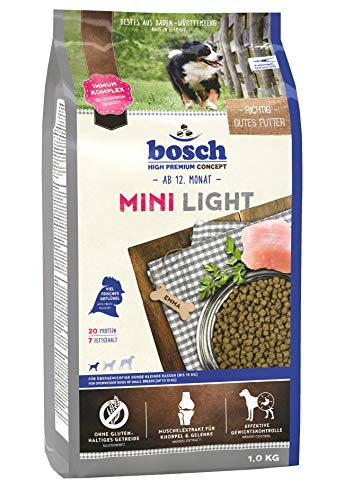 bosch HPC Mini Light | Hundetrockenfutter für übergewichtige Hunde kleiner Rassen (bis 15 kg), 5 x 1 kg