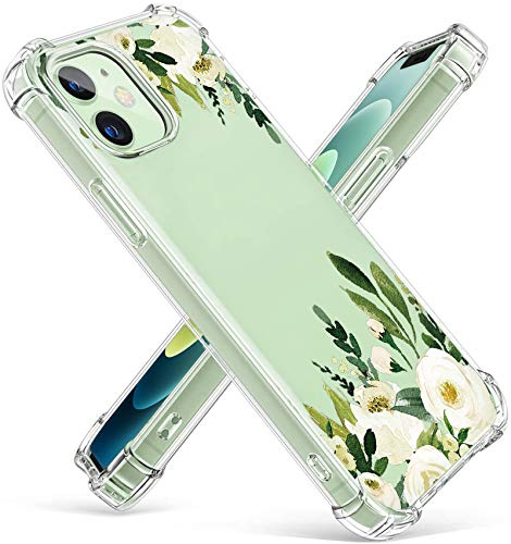 iPhone-12-Case with Glass Screen Protector, Cute Design Transparent Flower-for-Girls-Women-Best-Protective Slim Fit Clear TPU Soft Silicone Cover Phone Case for iPhone 12 (6)