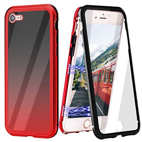 ZXK CO iPhone 7 Hülle Magnet, iPhone 8 Einteiliges 360 Grad Vollbildabdeckung Gehärtetes Glas Handyhülle mit Panzerglas Rückseite Vorne und Hinten Case Cover für iPhone 7 iPhone 8 4.7 Zoll …