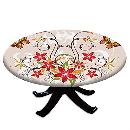 Round Fitted Floral Tablecloth, Butterflies and Flourishing Swirled Blossoms Bouquet Botany Image, Elastic Edge, Waterproof and wipeable Table Cover, Fits Tables 48' - 52' Diameter Beige Green Red