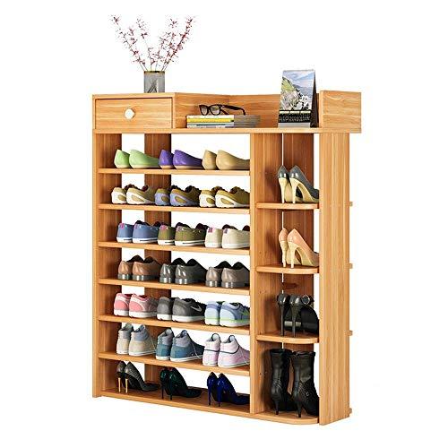 ZGQA-GQA Bastidores del Zapato del Zapato Estante de Madera Compuesto plástico Estante - Botas Puestas, 8 Niveles, 80 * 25 * 120 CM Ahorro de Espacio Fácil Ensamble (Color: Rojo Hoja de Arce, Tamaño: