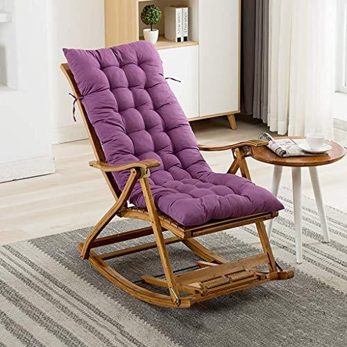 WFFF Sillón reclinable de jardín con cojín, sillón plegable de bambú para salón, dormitorio Siesta reclinable con reposapiés de masaje