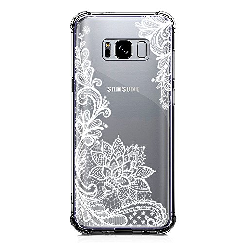 Galaxy S8 Case Clear with Lace Design Shockproof Protective Case for Samsung Galaxy S8 5.8 Inch Cute Henna Flowers Pattern Flexible Soft Slim Rubber White Floral Cell Phone Back Cover for Girls Women
