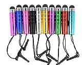 Nesa Ltd Lot de 10 mini stylets universels pour écrans tactiles de tablette, smartphone et autre appareil à écran tactile Blanc/doré/rose/argenté/bleu/vert/violet/rouge/bleu foncé