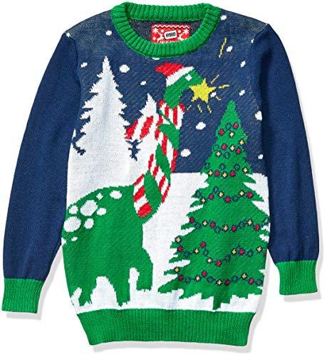 Hybrid Apparel Boys' Ugly Christmas Sweater, Dino/Blue, Small (6/7)