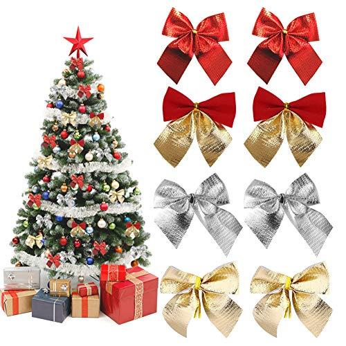 BONHHC Weihnachtsschleifen/Weihnachtsbaum Schleifen Deko/Glitzer Bogen für Baumschmuck Weihnachtsdeko Geschenkverpackung (96 Stück)