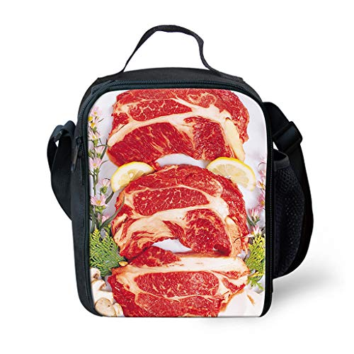 VicVee Beef Capicola Cuisine Lunch Box with Zipper Pocket Reusable Insulated lunch bag Organic Cotton Mea-1880