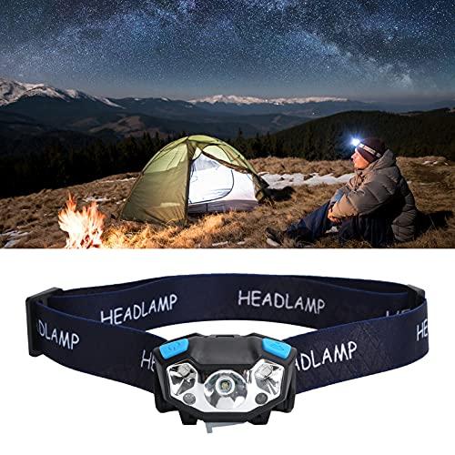 Luz de cabeza, lámpara de cabeza con sensor, faro para acampar, senderismo, montañismo, senderismo, pesca