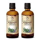 Olio Essenziale Rosmarino 2x100ml - Rosmarinus Officinalis - Spagna - Naturale e Puro al 100% - Olio di Rosmarino per Vasca da Bagno - Diffusore di Aromi - Aromaterapia