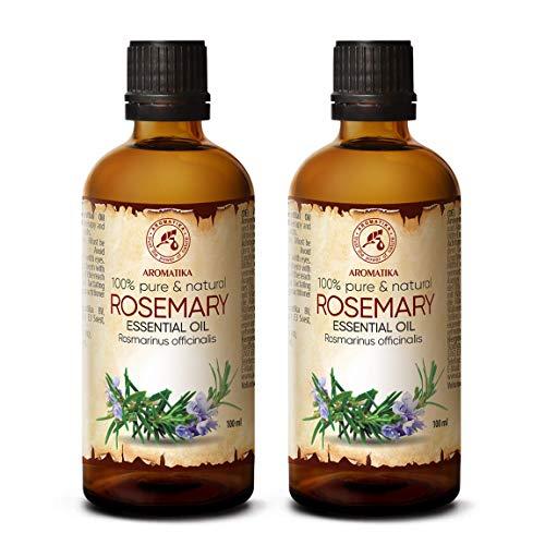 Rosmarinöl 2x100ml - Rosmarinus Officinalis - Spanien - 100% Naturreines Ätherisches Rosmarin Öl - Reine & Natürliche Rosemary - Guten für Aromatherapie - Duft Diffuser - Duftlampe