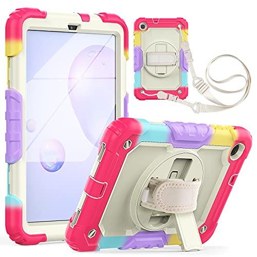 Funda para Galaxy Tab A 8.4 con 360 ° Rotación de Correa Mano Soporte Protector Pantalla Portalápiz, Prueba de Choques Carcasa Resistente Cubierta Protectora para Galaxy Tab A 8.4/SM-T307 2020 - Rojo