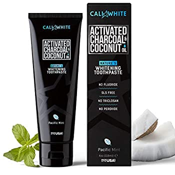 Cali White Activated Charcoal & Organic Coconut Oil Teeth Whitening Toothpaste Made in USA Natural Teeth Whitener Vegan Fluoride-Free Sulfate-Free Organic Black Tooth Paste Pacific Mint  4oz