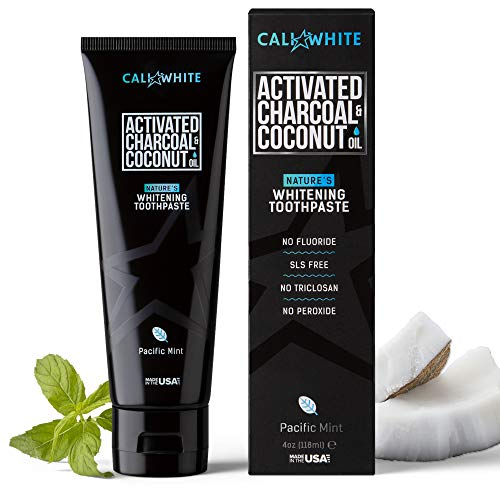 Cali White Activated Charcoal & Organic Coconut Oil Teeth Whitening Toothpaste, Made in USA, Natural Teeth Whitener, Vegan, Fluoride-Free, Sulfate-Free, Organic, Black Tooth Paste, Pacific Mint (4oz)